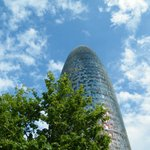 Torre Agbar with green and blue