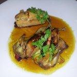 plat, caille en crapaudine et foie gras,