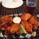 Six wings with Sweet Siracha sauce and six with regular hot sauce!