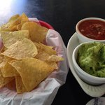 Guacamole and salsa with chips appetizer