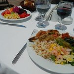 lunch, fresh food with own bottle of wine!