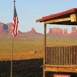 The historic part of the lodge looking out at Monument Valley
