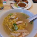 Chicken noodle soup and chicken satay skewers
