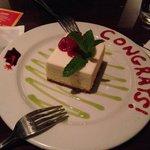 They knew it was my graduation from graduate school, so they surprised me with this cheesecake.