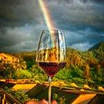 Rainbow at dinner at Makana Terrace