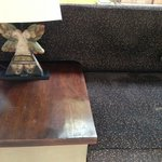 dusty sofa and unclean table