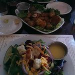 at top cesar, deep fried brussel sprouts and field greens salad