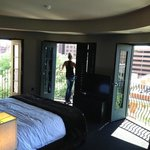 Turret round bedroom area looking out the 4 doors at the Riverwalk.