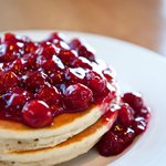 Buttermilk Pancakes with Cherry Sauce