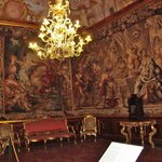 tapestries & chandelier in Palazzo Mansi