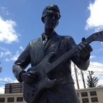 Statue of Buddy Holly, across the street from the Buddy Holly Center