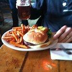 Elk Burger and sweet potato fries.