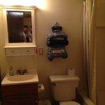 Orange air freshener, worn towels, & plunger.