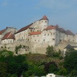 Magnificent view of Burghausen Castle from the first floor of Burgblick Hotel