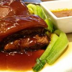 Slow cooked and glazed pork belly with greens. Amazing