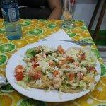 Huge serving of shrimp tostadas