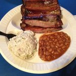 My plate: ribs, beans and THE BEST POTATO SALAD (hint of garlic)!