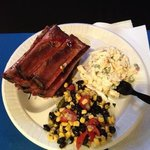 More ribs, pasta salad and a tasty combo of black beans, corn, onions, et cetera. Another wonder