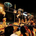 Back view while Aarti to gange river