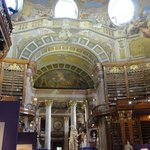The amazing ceiling and some of the books on display