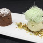 Valrhona chocolate fondant, Pistachio ice cream