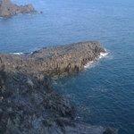 Local columnar volcanic lava rocks