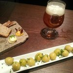 Olives to start, and delicious local beer