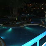 the view of the main pool at night