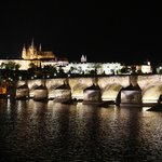 Evening view of Charles Bridge and Prague Castle