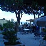 Blick von unserer Terrasse auf die Strandbar