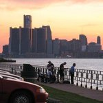 Detroit skyline at dusk showing GM towers
