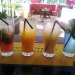 mexican melon, mango tango, sunset breeze and shahi mojito