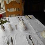 White linen table setting