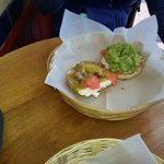Half guacamole/salmon and seafood delight bagel. :)