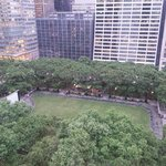 Bryant Park looking North. Showing outdoor movie screen in park (west side of park))