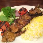 lamb chops with rice and side salad