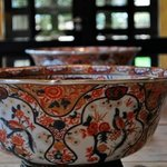 Antique bowls in reception area