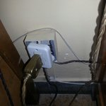 Exposed wiring in our room.  Not good if you have children.  The rooms are just a bit tatty and