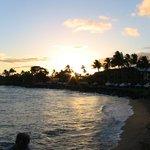 Sunset at the beach across the street