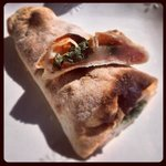 pizza roll with spinach, mozzerella and tomatoes