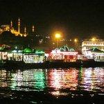 Eminönü and the Süleymaniye Mosque, at night
