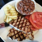 Pork loin, pintos, wood grilled squash, and  Grainger Co. tomatoes