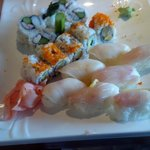 Yellow tail & white tuna sushi w/ egg & asparagus rolls
