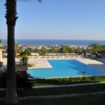 View from my balcony to the pool and Kyrenia and the sea beyond