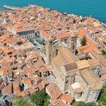 View of Cefalu and Cathedral from the Rocca di Cefalu hill