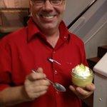 Chef Scott enjoying key lime pie in a Mason jar!