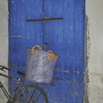 Bike against the blue door
