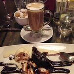 Delicious pudding and coffee option on the dessert menu!