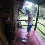 Cooking breakfast on our balcony with portable stove