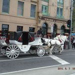 Horse carriage outside Flinders Street Station